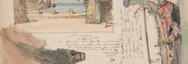 Bozzetto di Edoardo Dalbono per la scena dell'opera