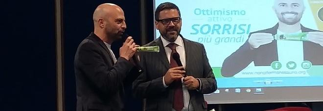 Aurelio Tommasetti con Luca Abete dall'aula delle lauree del campus di Fisciano