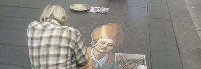 Napoli - San Gennaro visto da un'artista di strada