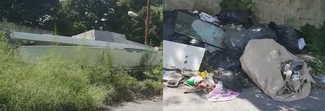 Due immagini del degrado di via Raffaele Ruggiero ad Agnano