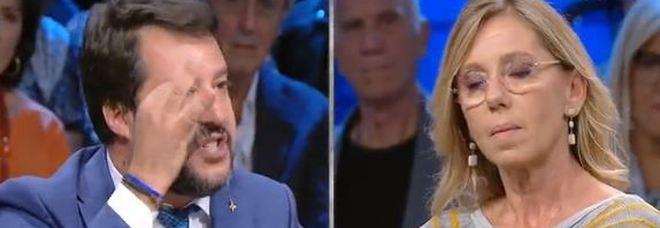 Un fermo immagine del programma Di Martedì su La7 con Matteo Salvini