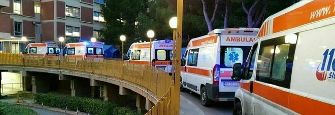Covid, le ambulanze in fila davanti al pronto soccorso. La foto simbolo di un medico: «Siamo al collasso»