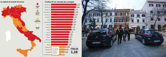 Contagi, Italia chiusa, anche il Lazio rosso, Pasqua in lockdown