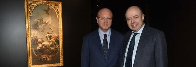 Vincenzo Boccia (a sinistra) e Raffaele Jerusalmi con il Tiepolo restaurato