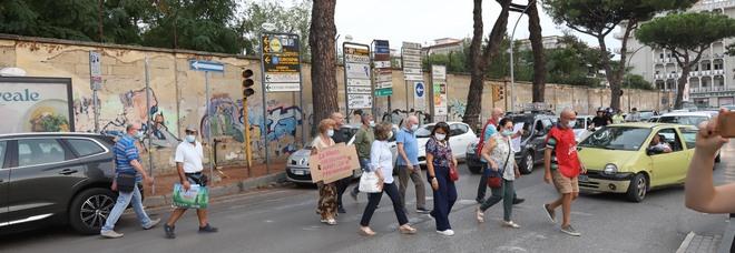 La catena della protesta per salvare gli alberi intorno all'area Macrico
