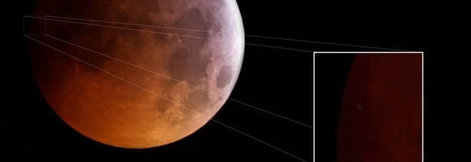 L'ingrandimento dell'impatto sulla syuperficie lunare durante l'eclissi di Luna ripresa dall'astrofilo Nunzio Micale