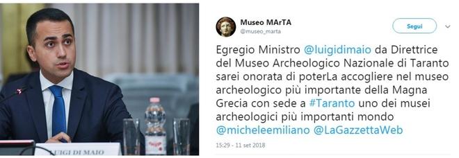 Di Maio: «Taranto non ha un museo archeologico». La direttrice del MarTa gli risponde su Twitter: «Noi fra i più importanti al mondo»