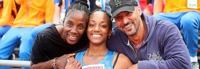 Larissa Iapichino con la madre Fiona May e il padre Gianni Iapichino