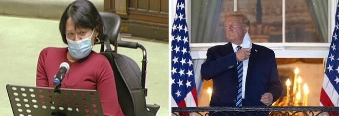 La deputata italiana Lisa Noja e il presidente degli Stati Uniti, Donald Trump