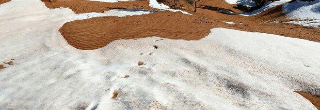 La neve imbianca parte del deserto del Sahara e diverse regioni dell'Arabia Saudita