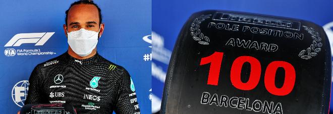 Lewis Hamilton festeggia la centesima pole a Barcellona