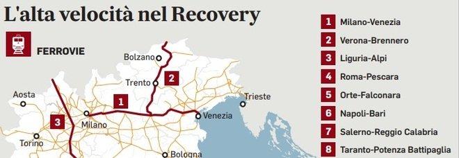 Recovery, nel piano oltre 25 miliardi per alta velocità e strade. Al Centro solo 1,5 miliardi