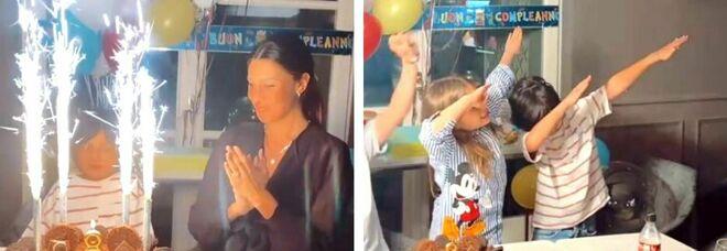 Belen Rodriguez, festa in casa con parenti e amici per gli 8 anni di Santiago