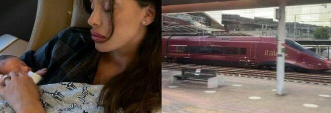 Belen Rodriguez torna a lavorare a una settimana dal parto: sul treno verso Roma con la sua Luna Marì