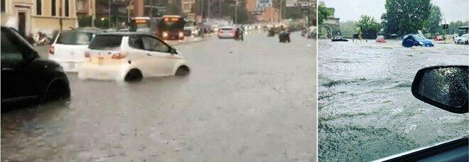 Roma, bomba d'acqua: strade del centro come fiumi