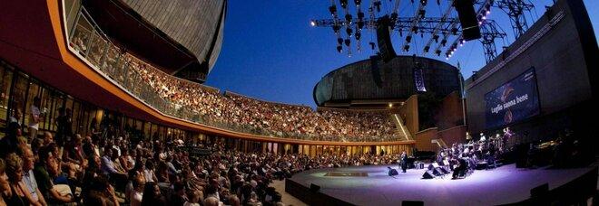 Un momento di un concerto alla cavea dell'Auditorium di Roma durante la kermesse 'Luglio Suona Bene''