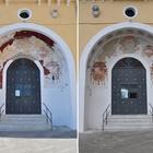 Santa Maria del Parto, rivivono gli stemmi del portale d'ingresso