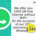 WhatsApp e il messaggio che promette 1000 GB in regalo: «Non apritelo, è una truffa»