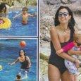 Caterina Balivo con i figli Cora e Guido Alberto a Capri