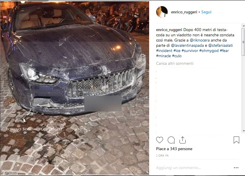 Incidente per Enrico Ruggeri: schianto in autostrada