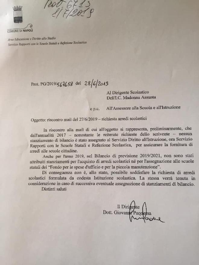 La lettera di risposta inviata alla dirigente Rosa Cassese da parte del Comune di Napoli