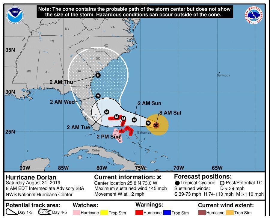newest 70395 d1639 Dorian si rafforza, la South Carolina dichiara lo stato d ...